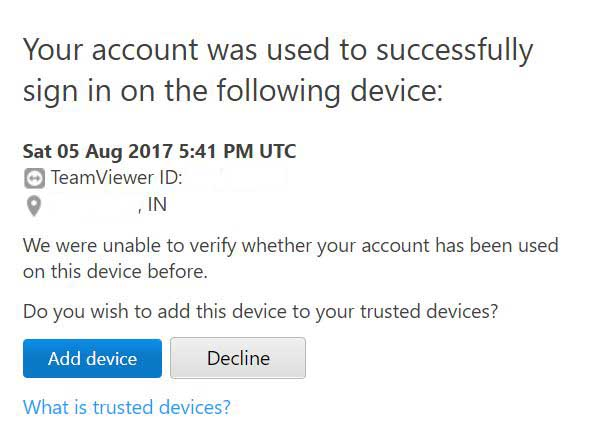 Add Device as trusted