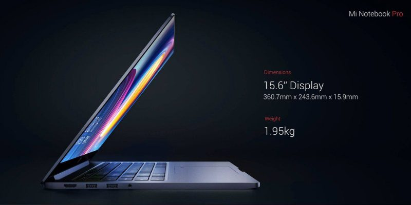 Xiaomi Notebook pro Display and weight